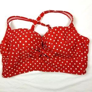 Torrid bikini top pinup red and white polka dot 2